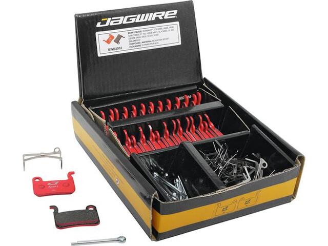 Jagwire Sport Semi-Metallic Disc Brake Pads Shimano XTR/Deore/Hone/Alfine/Non-Serie 25 Pairs, rojo